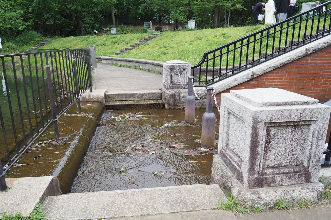 長池公園の築池にある洗い越し歩道