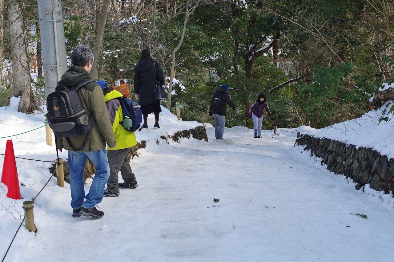 高尾山 積雪時の1号路