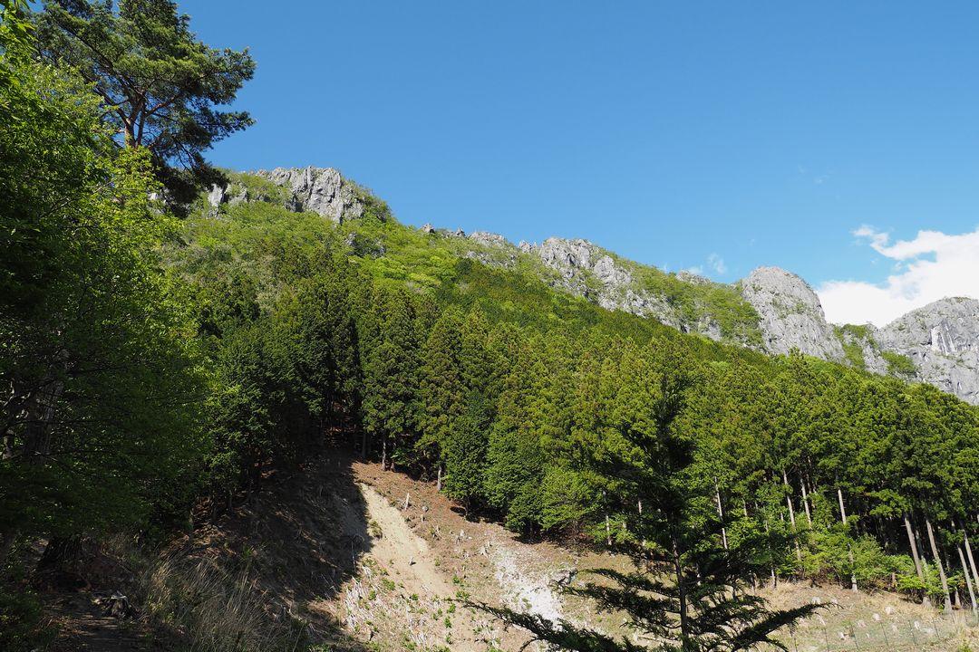 魚尾道峠付近から見た二子山