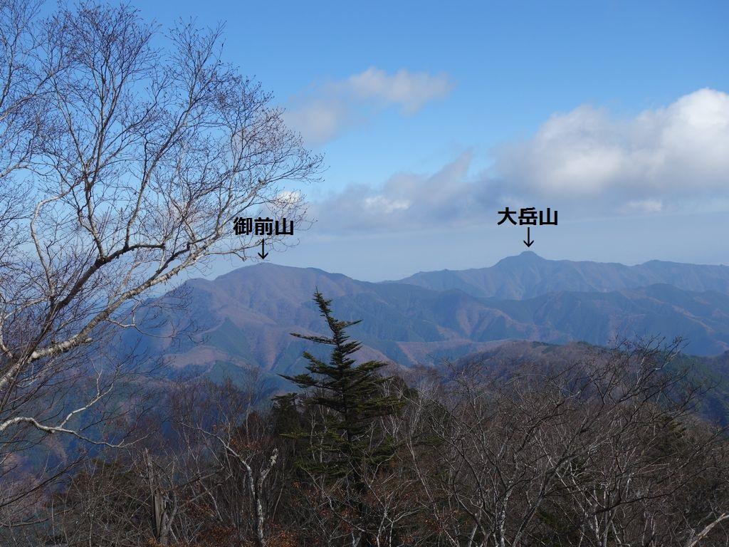 三頭山 東峰の展望台から見た御前山と大岳山