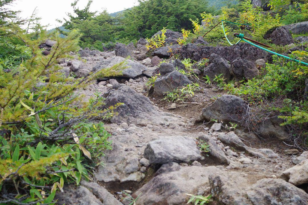 黒斑山表コース上の溶岩石