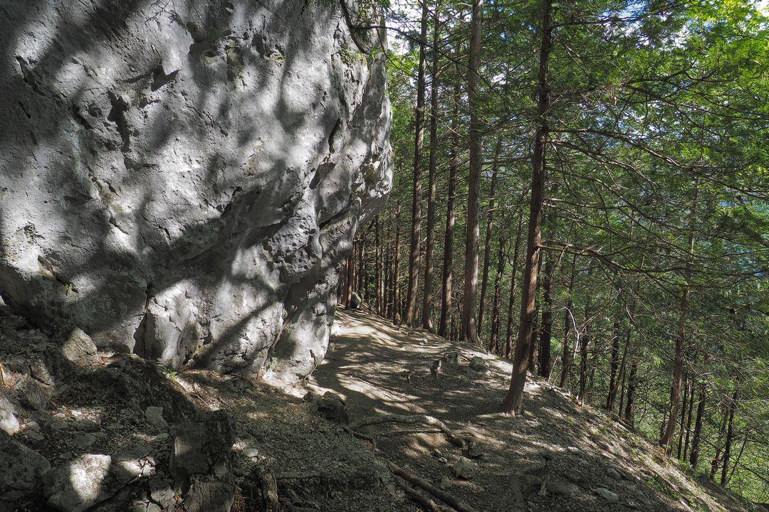 二子山 岩壁直下の平坦地