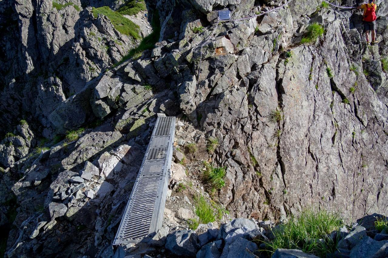 剱岳 前剱の門の鉄の橋