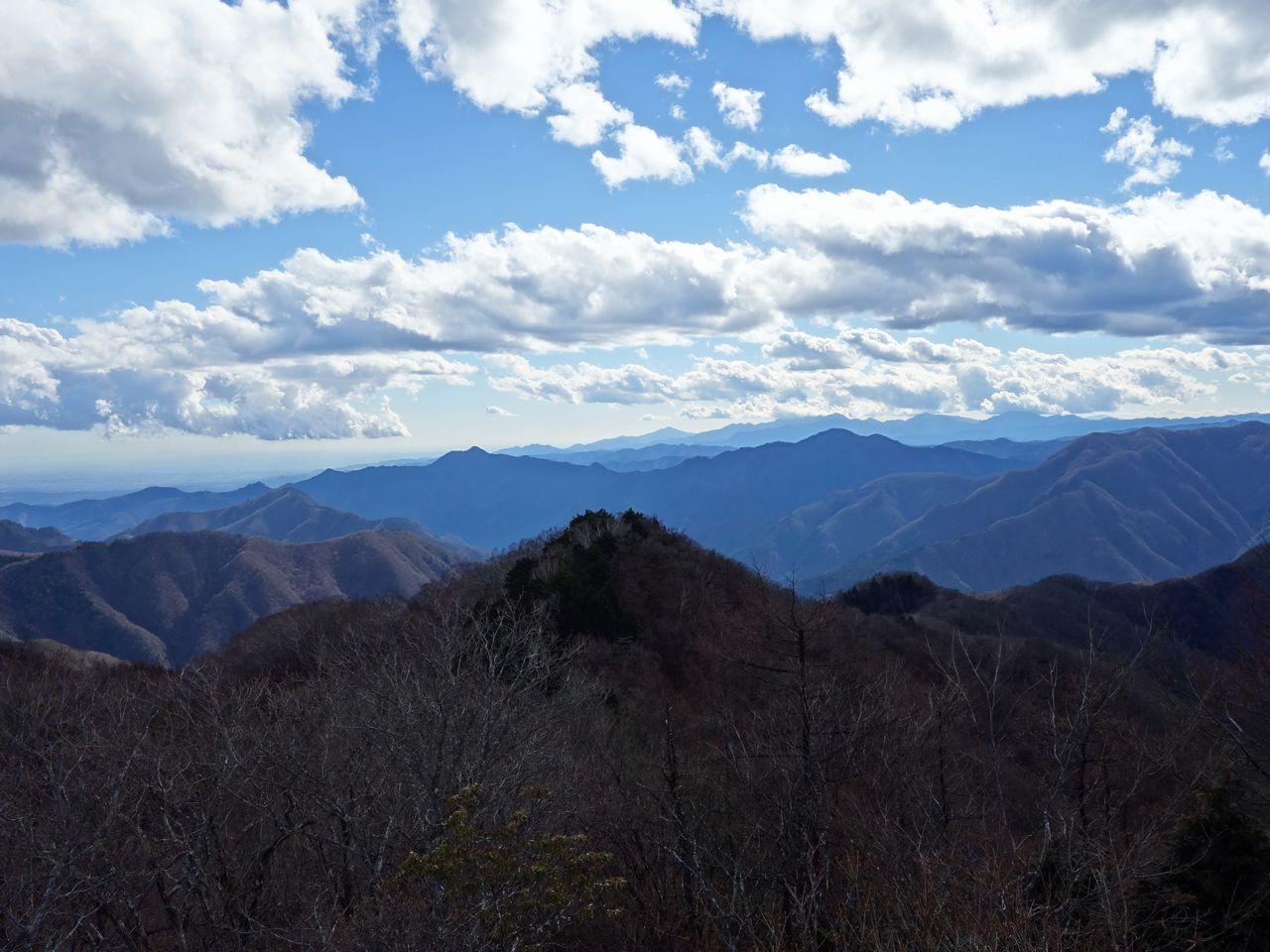 天目山から見た大岳山