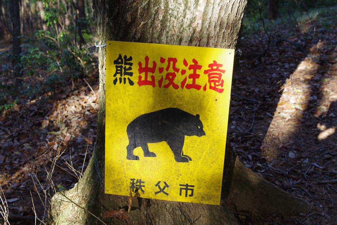秩父市の熊注意の看板