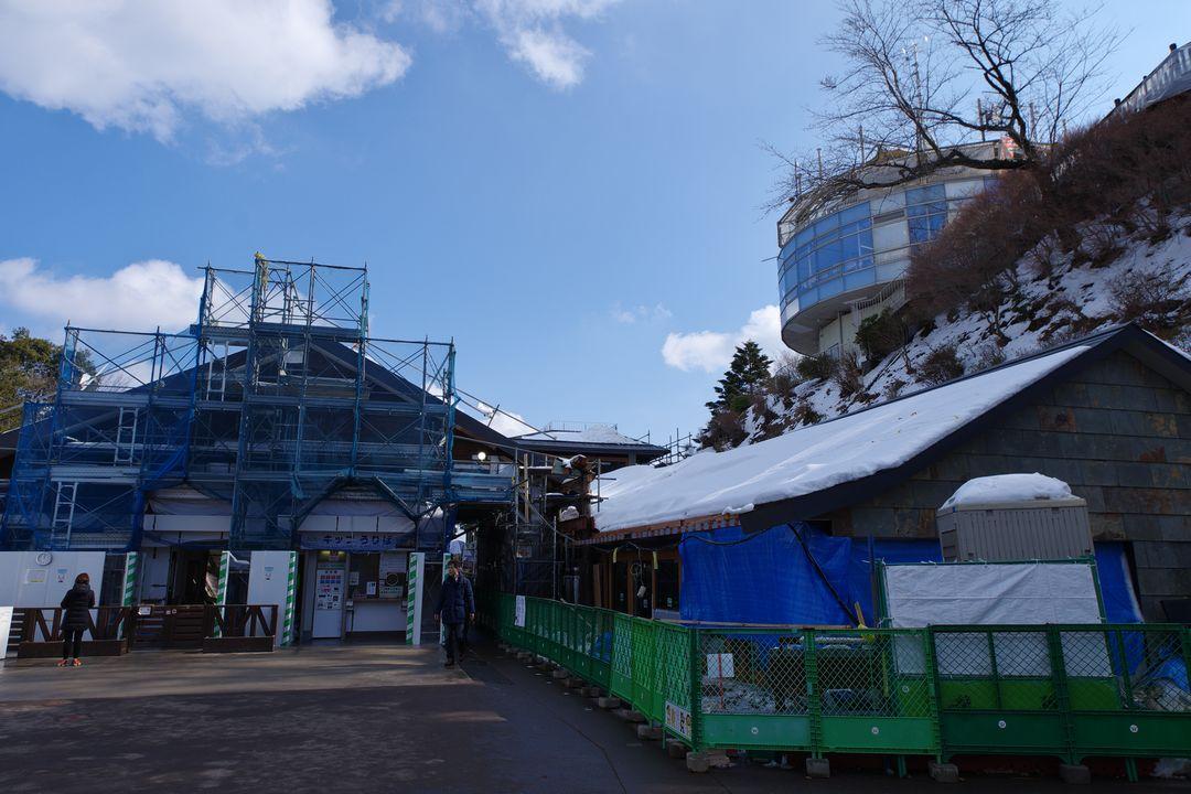 高尾山 改装中のケーブルカー山頂駅