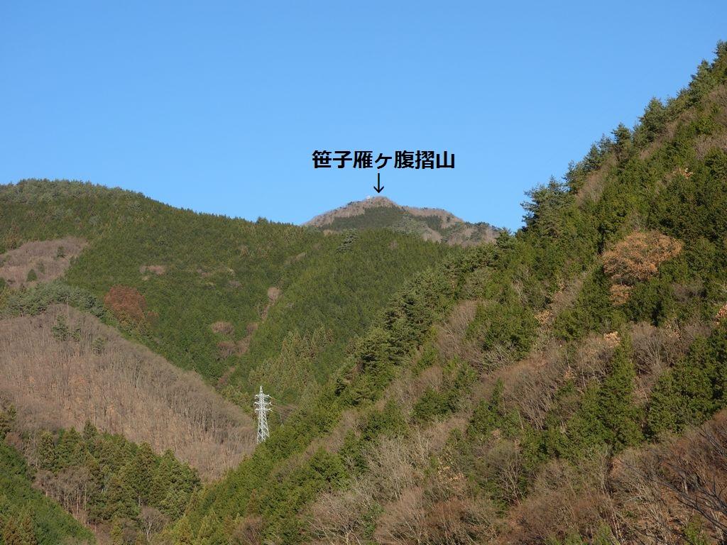 国道20号から見た笹子雁ヶ腹摺山
