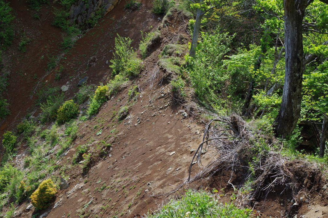 丹沢主稜縦走路の崩落地