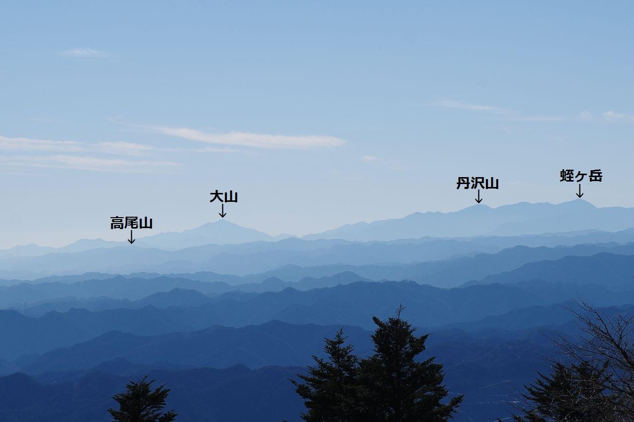 関八州見晴台から見た丹沢山地(名前入り)