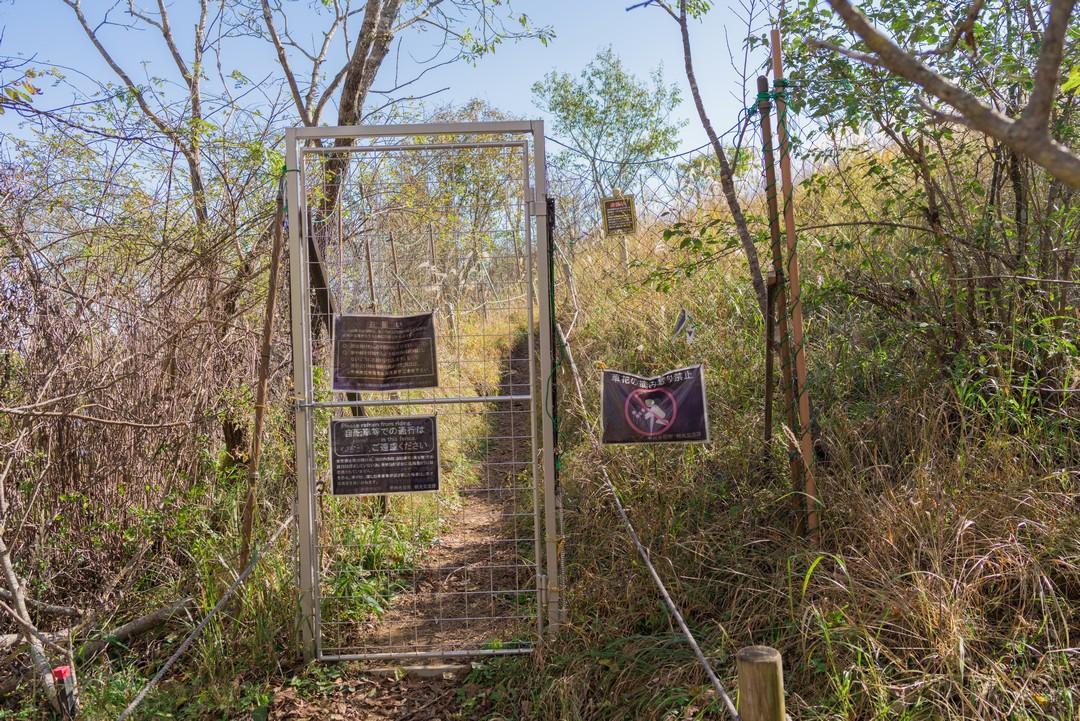 湯ノ沢峠お花畑の鹿よけゲート
