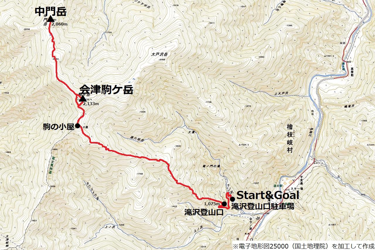 170827会津駒ケ岳_map