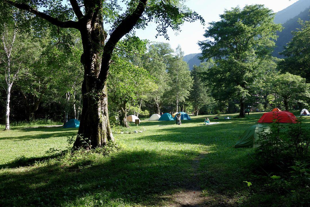 徳沢園のキャンプして位置