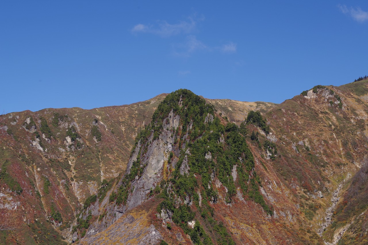 巻機山6合目から見た天狗岩