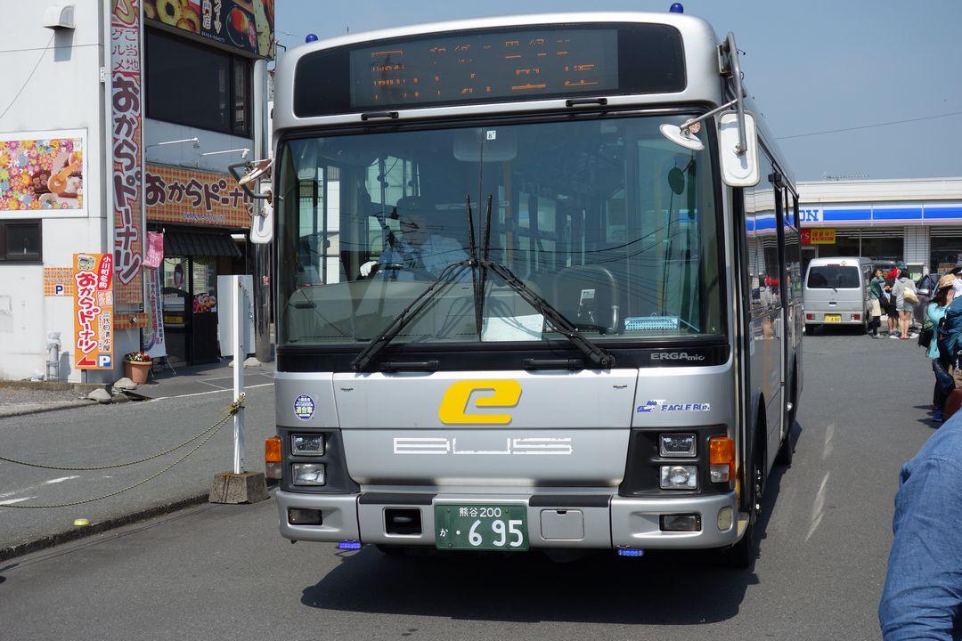 小川町駅バスターミナルに侵入するイーグルバス