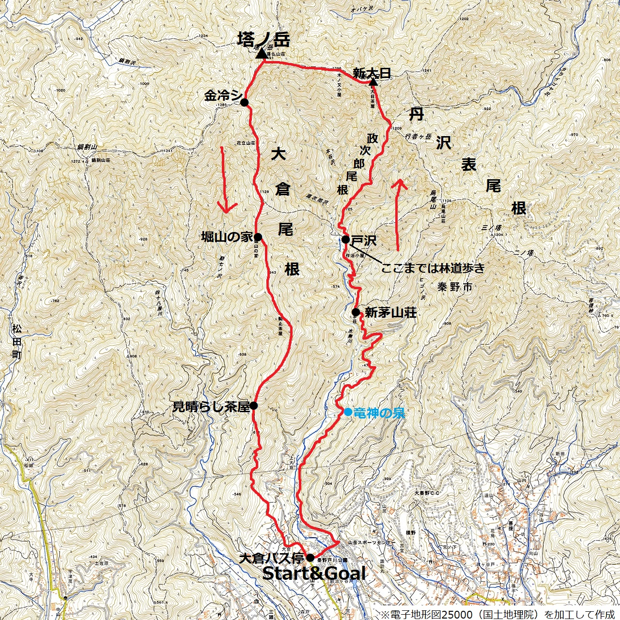 200223塔ノ岳_map