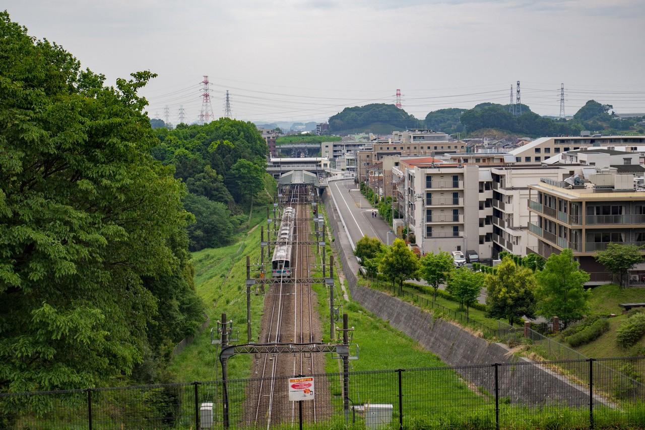 多摩よこやまの道から見た小田急線はるひの駅
