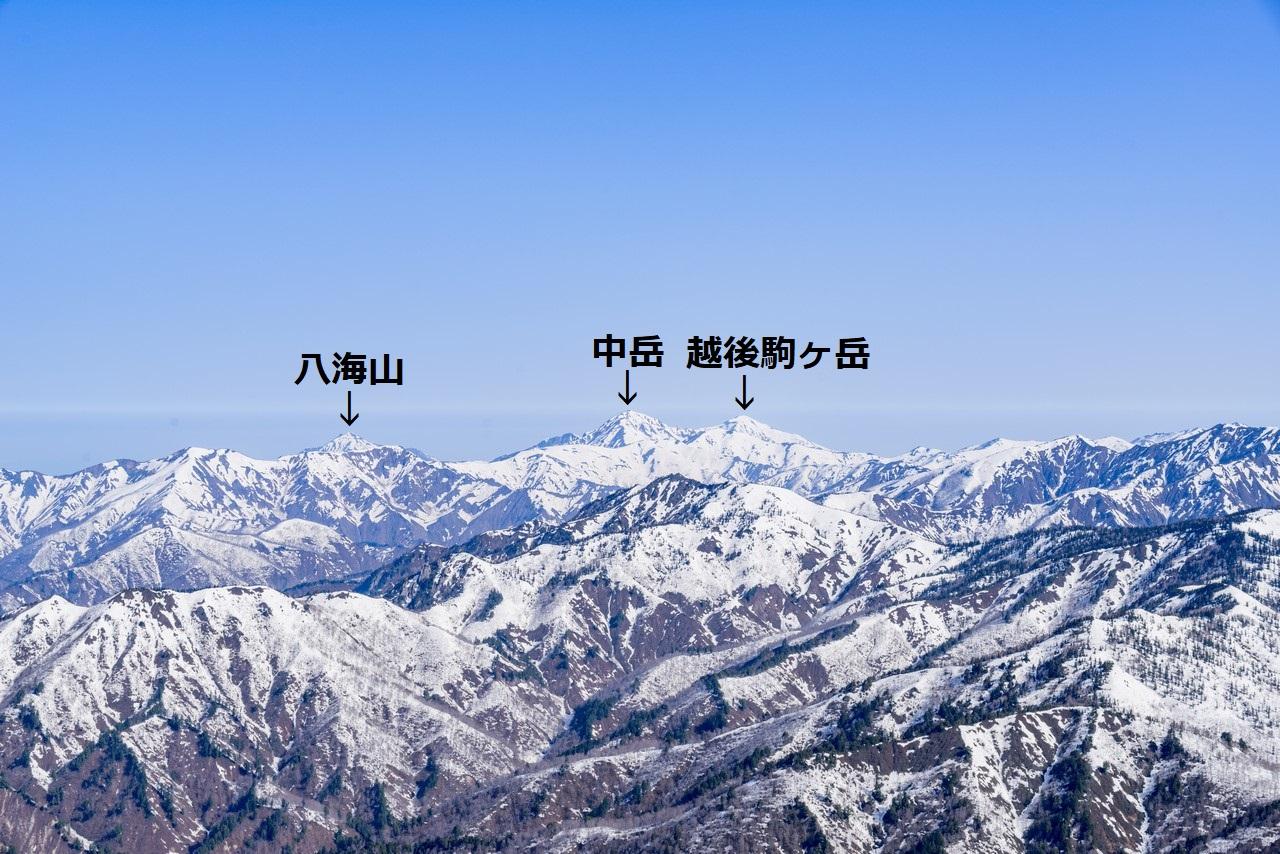 至仏山から見た越後三山(名前入り)