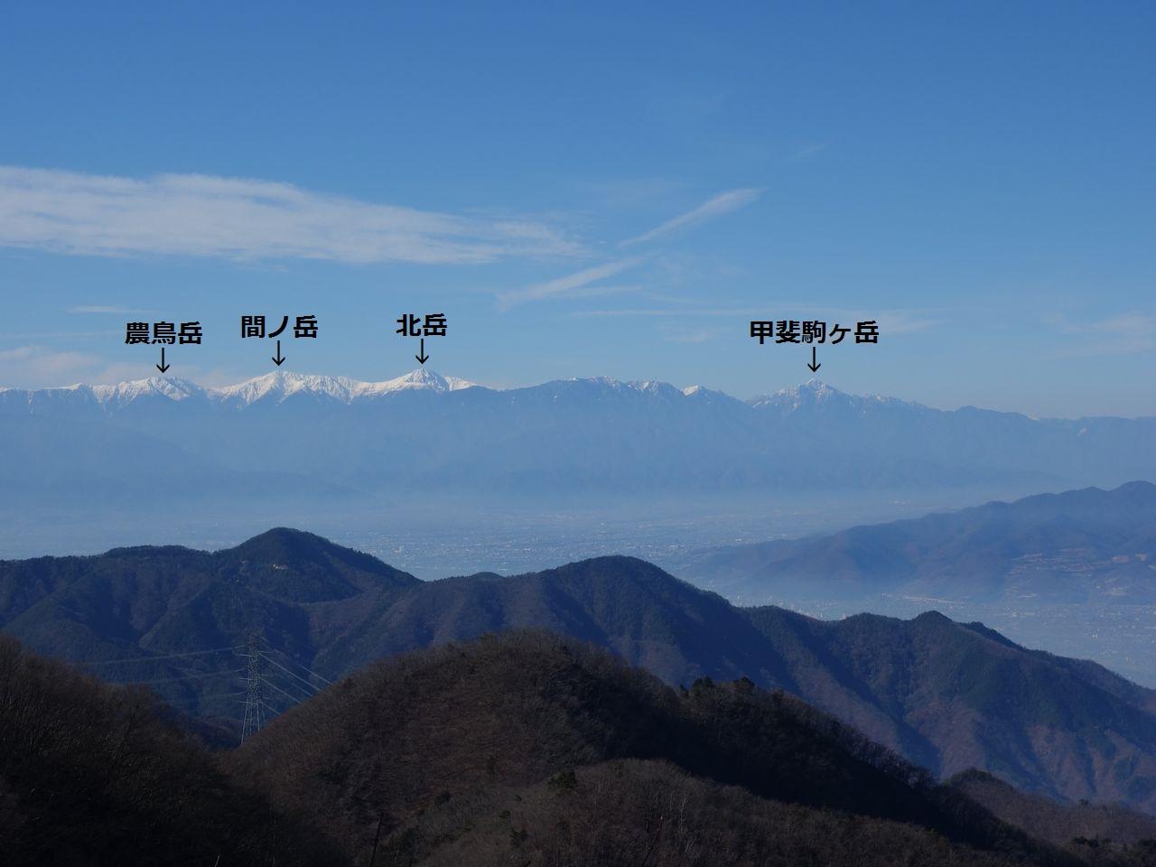 お坊山から見た白根三山