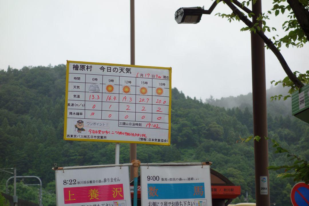 武蔵五日市駅に張り出された天気予報