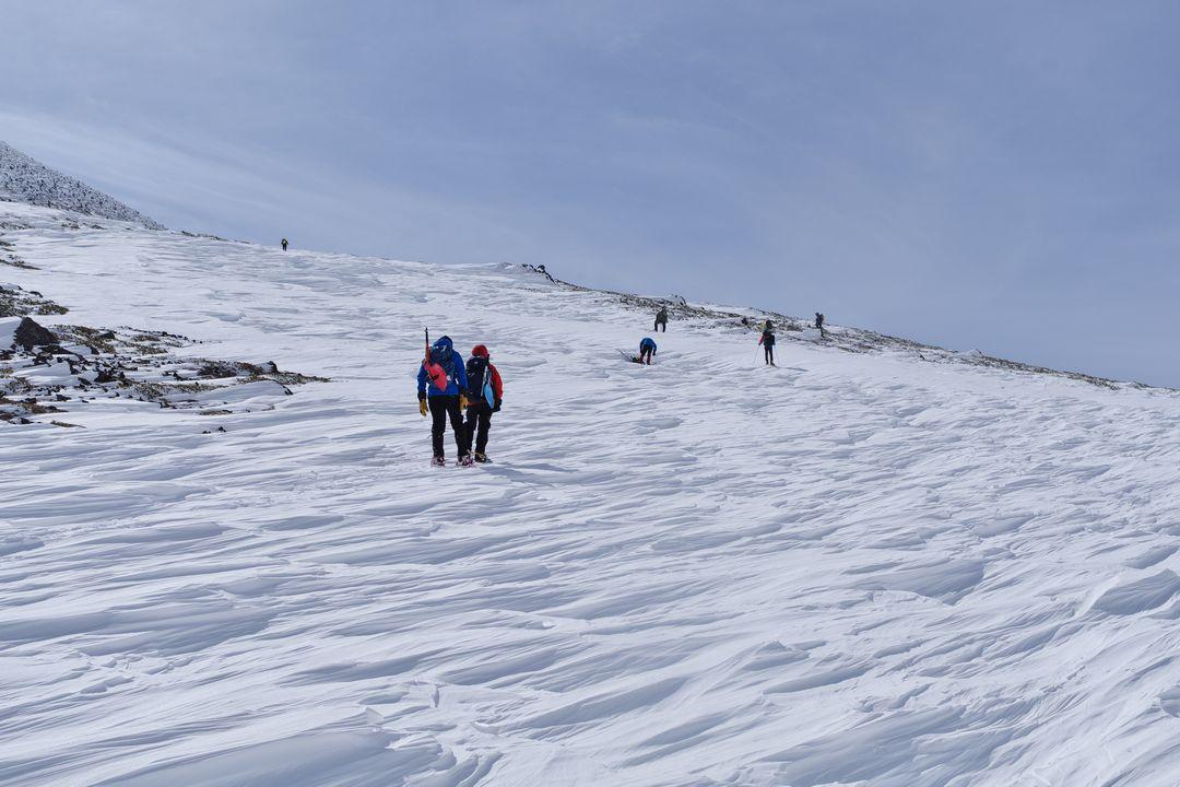 乗鞍岳 斜面のシュカブラ