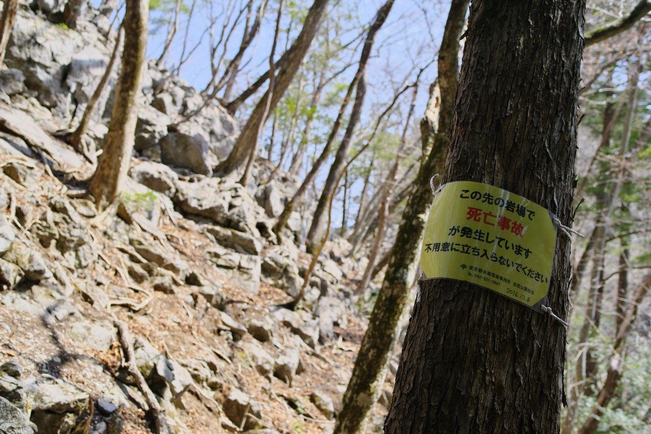 稲村岩分岐の警告文